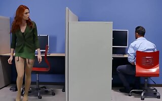 High living in the office ends with cumshot on redhead's feet