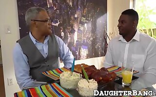 Cute ebony teen charge from prevalent her father's best friend