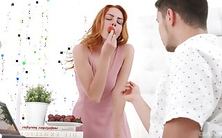 Redhead cutie Candy Red gives a blowjob and gets fucked good