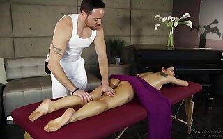 During erotic massage oiled hottie Gina Valentina deserves good banging