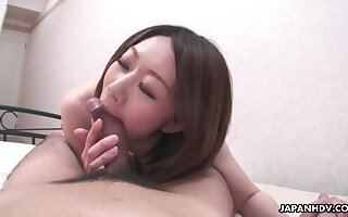 Japanese wife feels fantastic riding will not hear of lucky husband on top