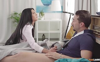 Slutty college gal Apolonia Lapiedra gives head and gets nailed doggy