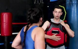 Kickboxer shows strength during training and appetence during copulation