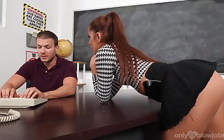 Clothed BJ session in the classroom with a hot pamper