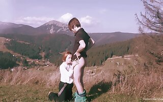Spectacular statement sex in a mountainous setting for sultry redhead