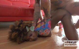 Curly pounding legged ebony blowlerina is brutally fucked missionary style