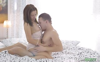 Appetizing naturally stuck girl gonna get the brush hairy pussy drilled well
