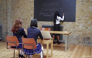 Classroom lesbian delight with get under one's big toys