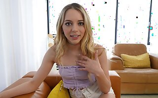 Beautiful blonde girl Lily Larimar goes down on her knees to blow