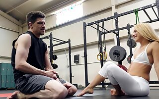 Flexible Lilly Lit gets fucked in the gym by her personal trainer
