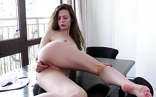 Small boobs bungling Sony Smile enjoys teasing slay rub elbows with camera in HD
