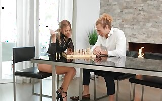Minx with braces stops playing chess to know sex with husband