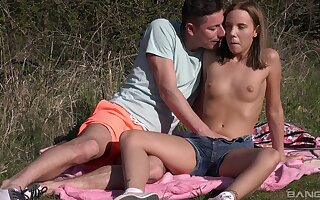 Outdoor foreplay & dicking close by stunning Poppy Pleasure - HD