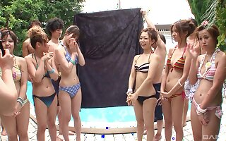 Kinky Japanese pool side orgy with teen bikini babes
