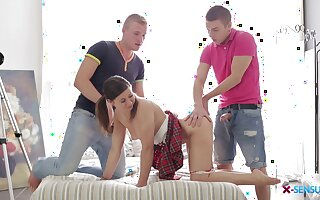 Teen beauty in a miniskirt getting double teamed by two hung studs