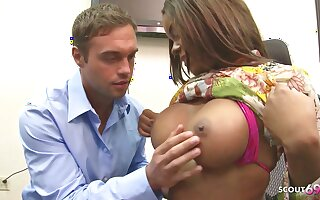 Big Tits Ebony Boss Blackmail White Boy to Fuck her at Work