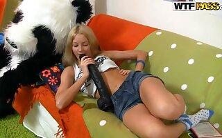 Skinny blonde teen Sveta has solo fantasy