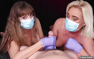 Masked Cock Milking POV Handjob with Teen and MILF