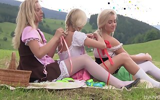 Karol Lilien and her babes enjoying a pussy eating fest on touching the nature
