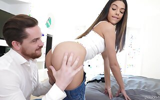 Fervent pretty long haired GF Harmony Awe gives dude awesome blowjob