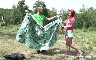 Redhead amateur girlfriend Tiffany Dote on fucked give outdoors
