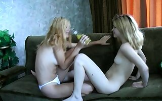 Lesbian teen takes care of blonde grown up lesbian