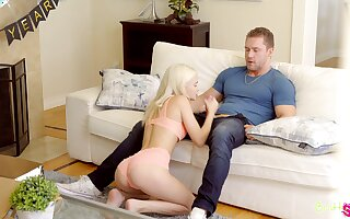 Petite blonde Kiara Cole is sucking stepbrother's fast dick